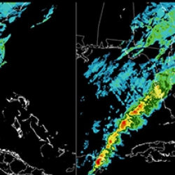 These images compare current land-based weather radar coverage (left) to the improved situational awareness of convective weather (e.g., thunderstorm activity) provided by the OPC (right). Both images depict storm height according to the color bar.