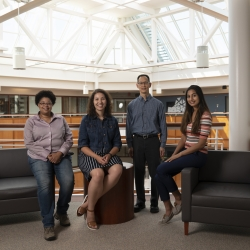 From left to right are Melva James, Stephanie Carnell, Jonathan Su, and Neela Kaushik, the team developing Adaptable Interpretable Machine Learning (AIM) at Lincoln Laboratory. Photo: Glen Cooper