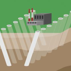 illustration of boreholes in ground around critical power plant