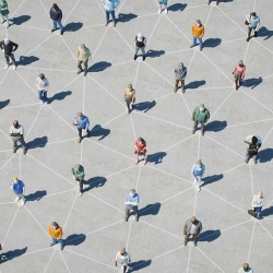 "A birds-eye illustration of humans standing in a grid with lines connecting them as if they are ""nodes"""