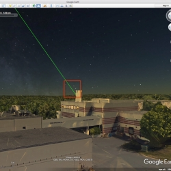 The LASSOS display screen highlights the laser strike event in live sensor imagery on the left and generates a 3D model of the laser streak in Google Earth, right.
