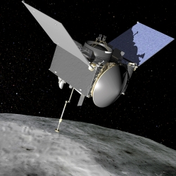 This illustration shows OSIRIS-REx contacting the asteroid Bennu. Aboard OSIRIS-REx is the REXIS instrument, for which the Laboratory developed CCDs that will image X-rays emitting from Bennu's surface. Illustration: NASA's Goddard Space Flight Center