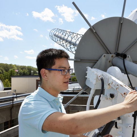 Summer research student Alan Dong helped transition the LES-9 satellite's original analog communication devices to digital platforms during his internship.
