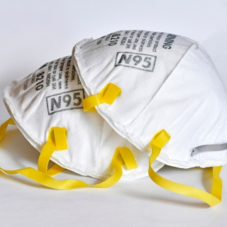 a photo of two N95 masks