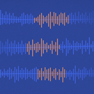 blue speech waves with middle of wave highlighted orange.