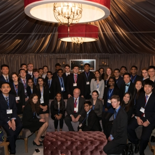 At a ceremony in Washington, D.C., Grant Stokes, seated center, head of the Space Systems & Technology Division and lead of the LINEAR program, recognized the 40 finalists of the Regeneron Science Talent Search with asteroids named in their honor.