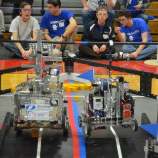 Students in FTC are challenged to design, build, program, and operate robots to compete in head-to-head competitions.