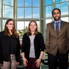 Left to right, Francesca D'Arcangelo, Emily Fenn, and Vijay Gadepally were named winners of the Armed Forces Communications and Electronics Association International's 2017 40 Under 40 Awards. Photo: Nicole Fandel